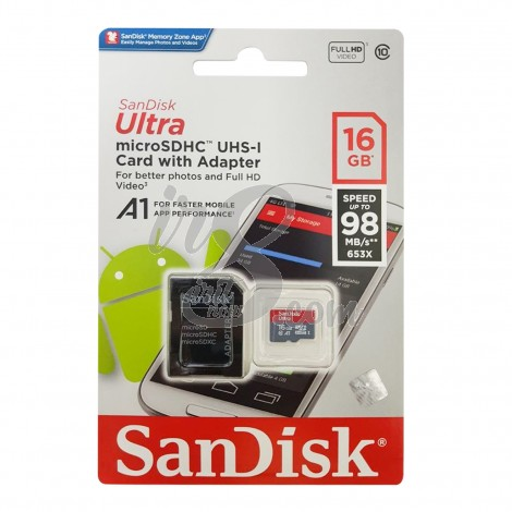 MEMORY CARD SANDISK MICRO SD 16GB 98 MBPS CLASS 10