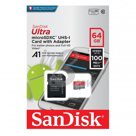 MEMORY CARD SANDISK MICRO SD 64GB 100 MBPS A1 CLASS 10