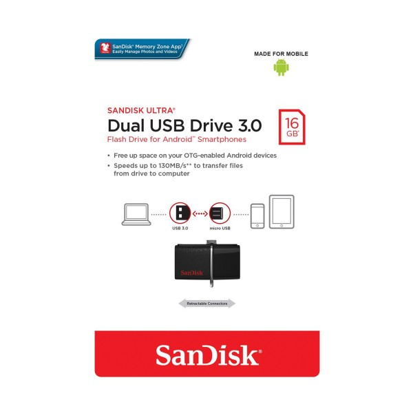 FLASH DRIVE SANDISK 16 GB DUAL DRIVE 3.0 BLACK
