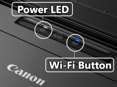 Letak tombol power dan wifi pada printer canon ip 110